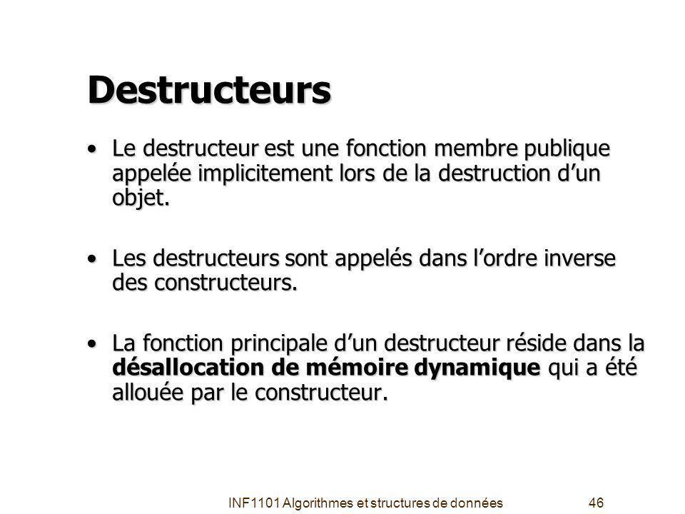 INF1101 Algorithmes et structures de données46 Destructeurs Le destructeur est une fonction membre publique appelée implicitement lors de la destruction dun objet.Le destructeur est une fonction membre publique appelée implicitement lors de la destruction dun objet.