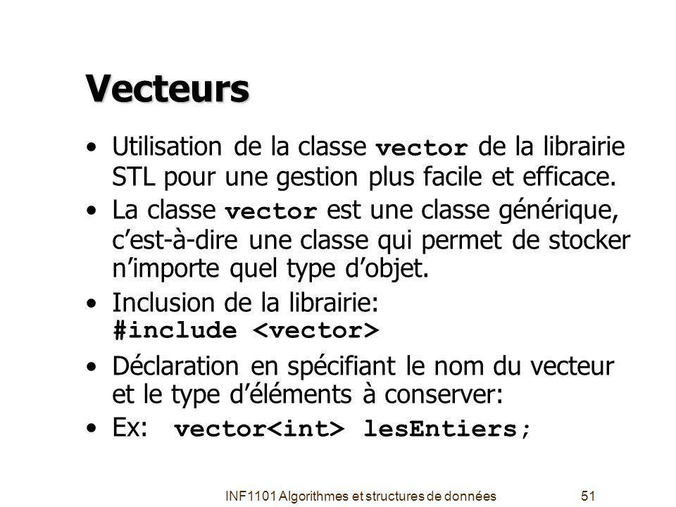 INF1101 Algorithmes et structures de données51 Vecteurs Utilisation de la classe vector de la librairie STL pour une gestion plus facile et efficace.