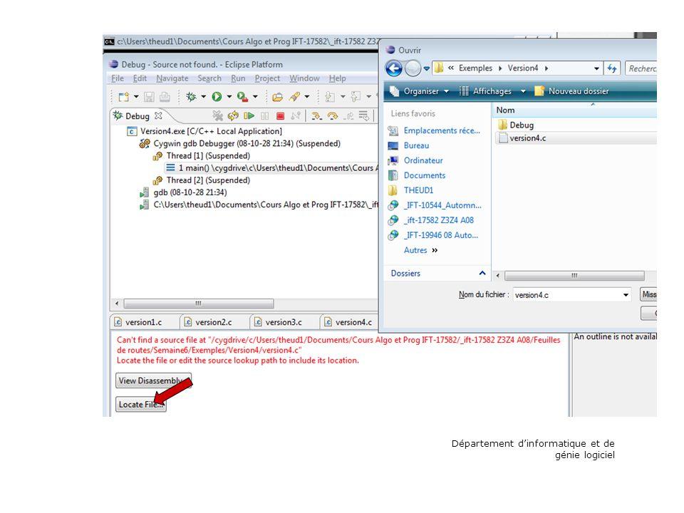 Choisir le fichier source à déboguer dans le système de fichier Département dinformatique et de génie logiciel