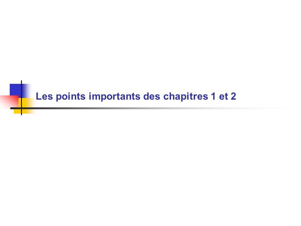 Les points importants des chapitres 1 et 2