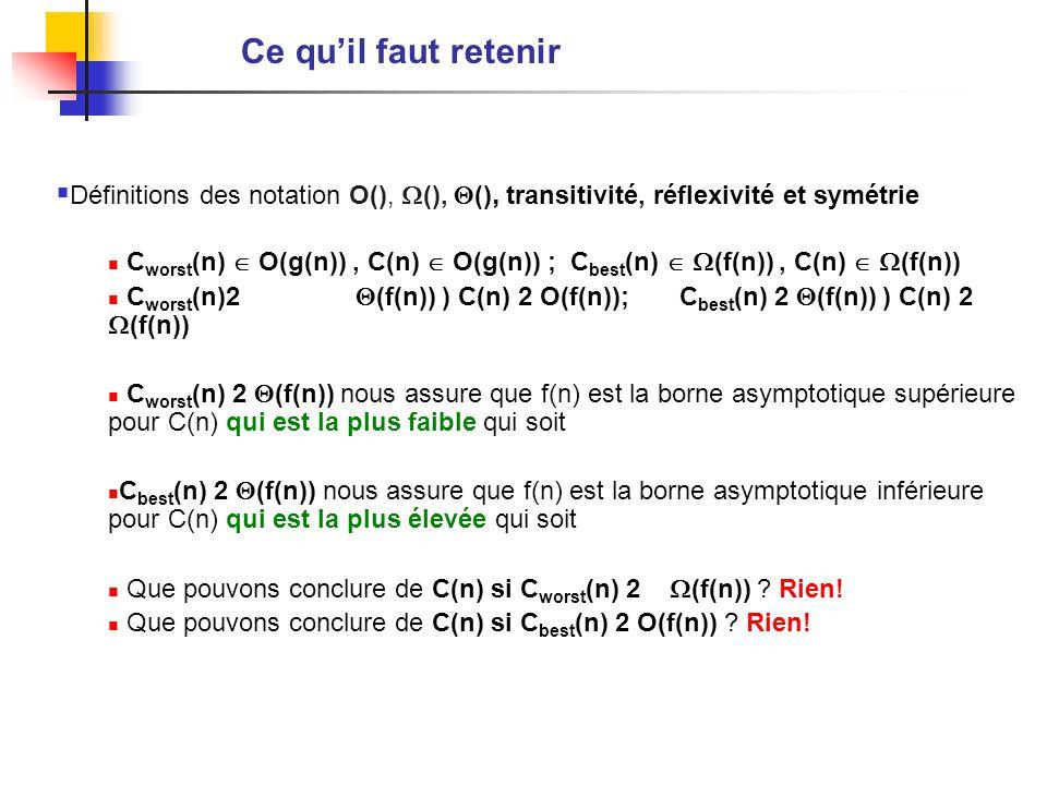 Ce quil faut retenir Définitions des notation O(), (), (), transitivité, réflexivité et symétrie C worst (n) O(g(n)), C(n) O(g(n)) ; C best (n) (f(n)), C(n) (f(n)) C worst (n)2 (f(n)) ) C(n) 2 O(f(n)); C best (n) 2 (f(n)) ) C(n) 2 (f(n)) C worst (n) 2 (f(n)) nous assure que f(n) est la borne asymptotique supérieure pour C(n) qui est la plus faible qui soit C best (n) 2 (f(n)) nous assure que f(n) est la borne asymptotique inférieure pour C(n) qui est la plus élevée qui soit Que pouvons conclure de C(n) si C worst (n) 2 (f(n)) .
