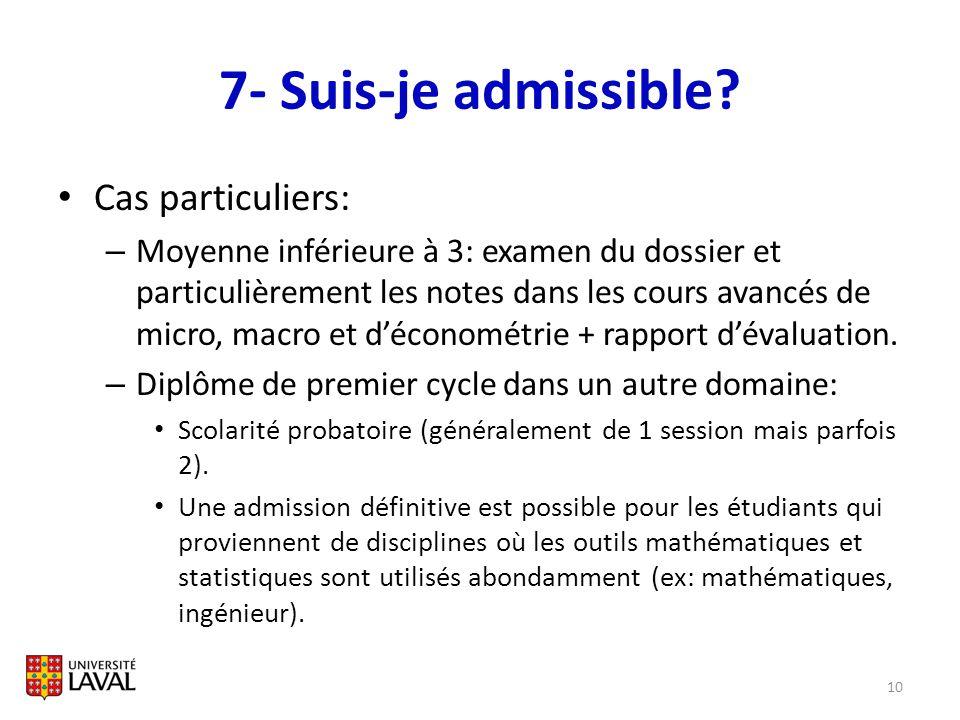 7- Suis-je admissible? Cas particuliers: – Moyenne inférieure à 3: examen du dossier et particulièrement les notes dans les cours avancés de micro, ma
