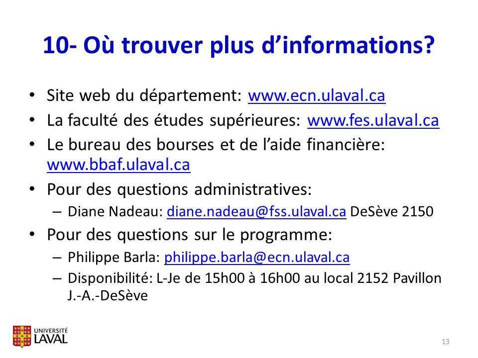 10- Où trouver plus dinformations? Site web du département: www.ecn.ulaval.cawww.ecn.ulaval.ca La faculté des études supérieures: www.fes.ulaval.cawww