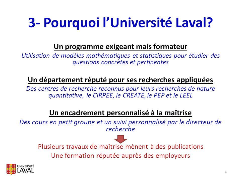 3- Pourquoi lUniversité Laval? Un programme exigeant mais formateur Utilisation de modèles mathématiques et statistiques pour étudier des questions co