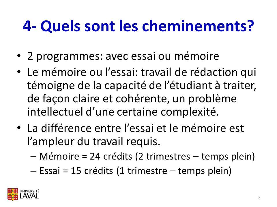 4- Quels sont les cheminements? 2 programmes: avec essai ou mémoire Le mémoire ou lessai: travail de rédaction qui témoigne de la capacité de létudian
