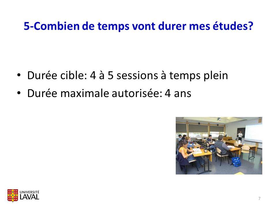 5-Combien de temps vont durer mes études? Durée cible: 4 à 5 sessions à temps plein Durée maximale autorisée: 4 ans 7