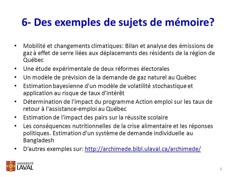 6- Des exemples de sujets de mémoire? Mobilité et changements climatiques: Bilan et analyse des émissions de gaz à effet de serre liées aux déplacemen