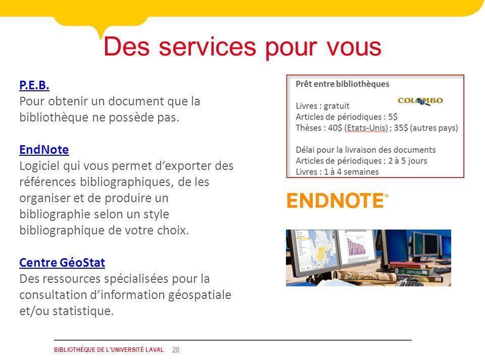 BIBLIOTHÈQUE DE L UNIVERSITÉ LAVAL 28 Des services pour vous P.E.B.