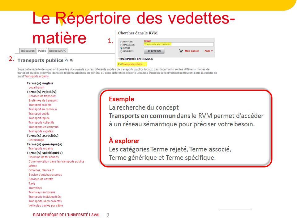 BIBLIOTHÈQUE DE L UNIVERSITÉ LAVAL 9 Le Répertoire des vedettes- matière 1. 2.