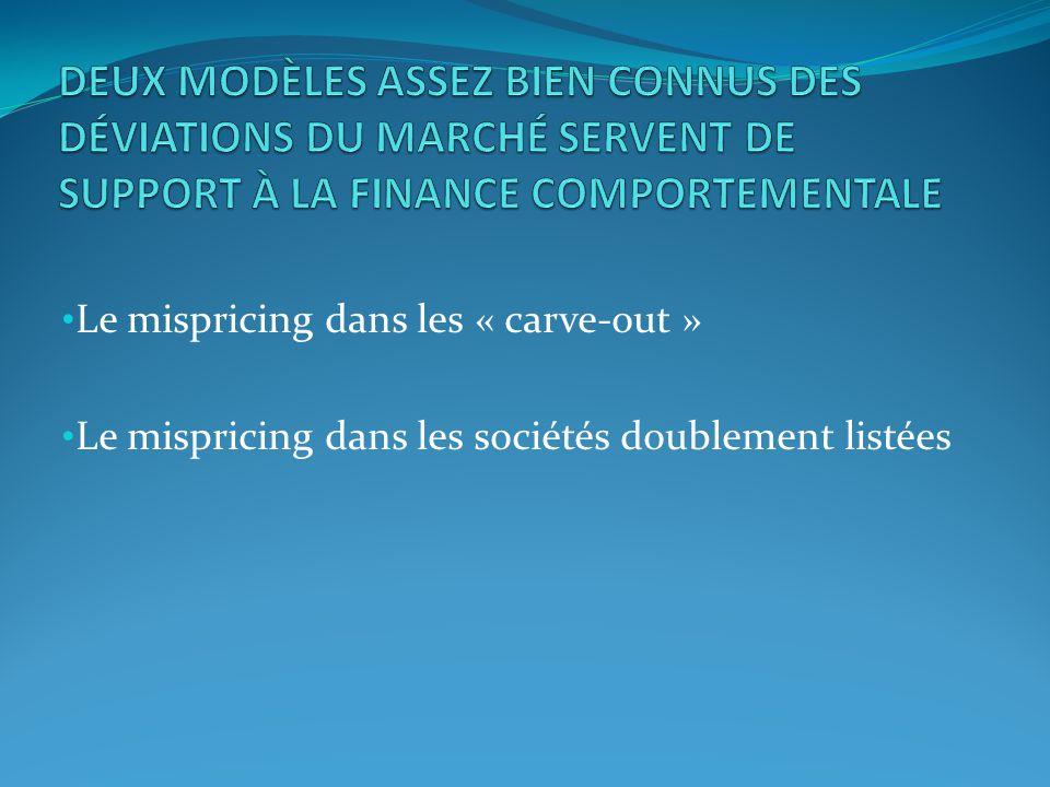 Le mispricing dans les « carve-out » Le mispricing dans les sociétés doublement listées