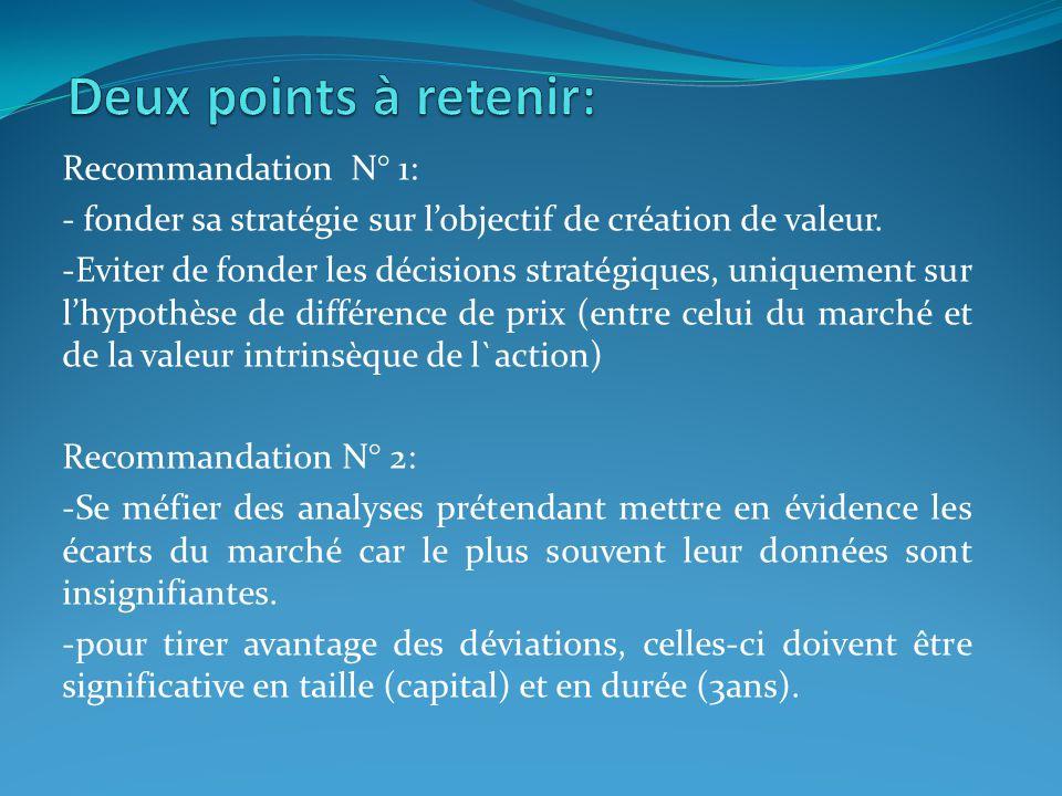 Recommandation N° 1: - fonder sa stratégie sur lobjectif de création de valeur. -Eviter de fonder les décisions stratégiques, uniquement sur lhypothès