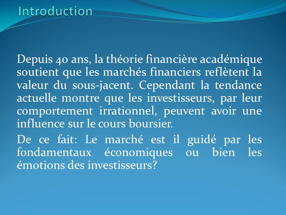 Depuis 40 ans, la théorie financière académique soutient que les marchés financiers reflètent la valeur du sous-jacent. Cependant la tendance actuelle