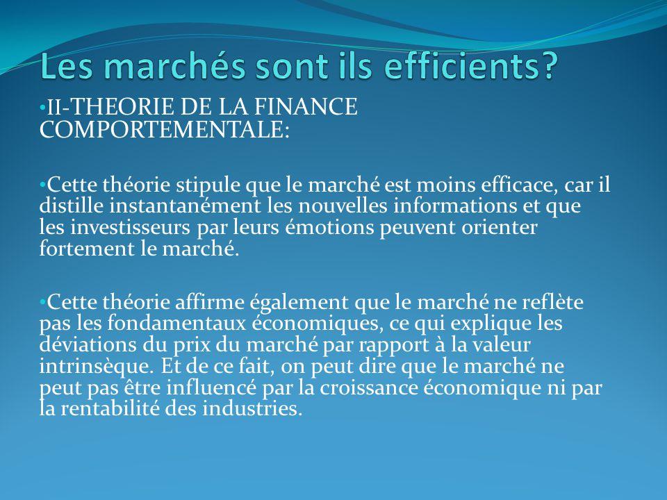 II- THEORIE DE LA FINANCE COMPORTEMENTALE: Cette théorie stipule que le marché est moins efficace, car il distille instantanément les nouvelles inform