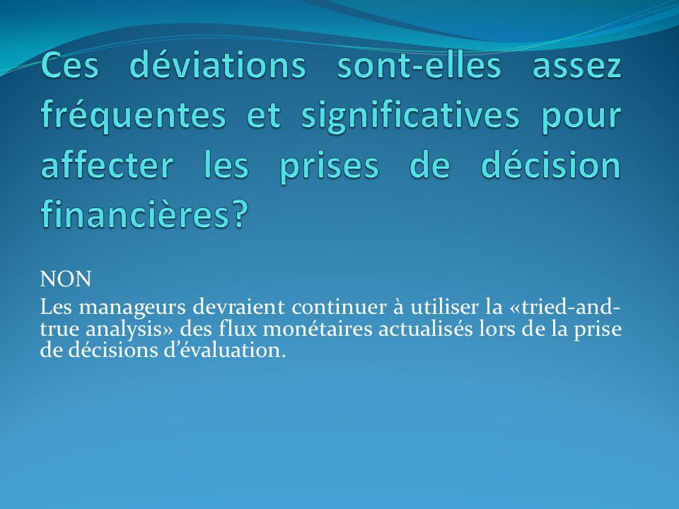 NON Les manageurs devraient continuer à utiliser la «tried-and- true analysis» des flux monétaires actualisés lors de la prise de décisions dévaluatio