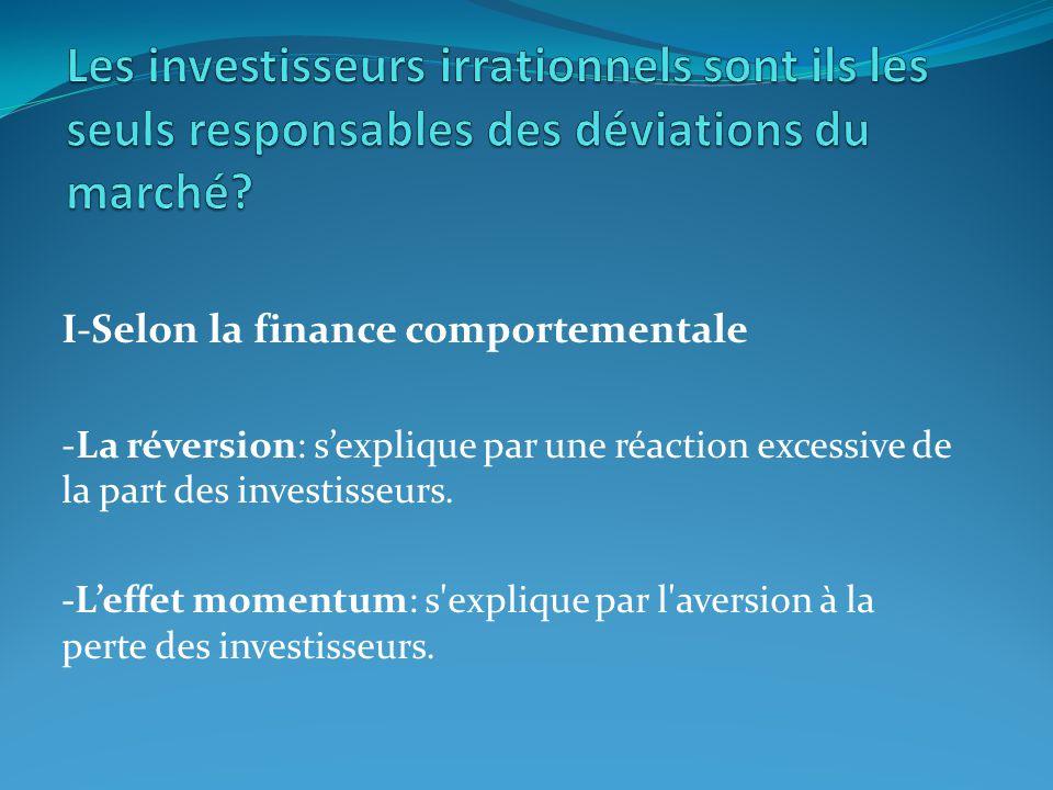 I-Selon la finance comportementale -La réversion: sexplique par une réaction excessive de la part des investisseurs. -Leffet momentum: s'explique par