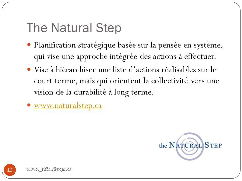 The Natural Step Planification stratégique basée sur la pensée en système, qui vise une approche intégrée des actions à effectuer. Vise à hiérarchiser