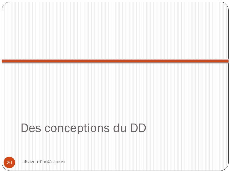Différentes conceptions Peut être représenté sous la forme dun modèle Nombre de dimensions considérées Nature des interrelations entre ces dimensions 21 olivier_riffon@uqac.ca