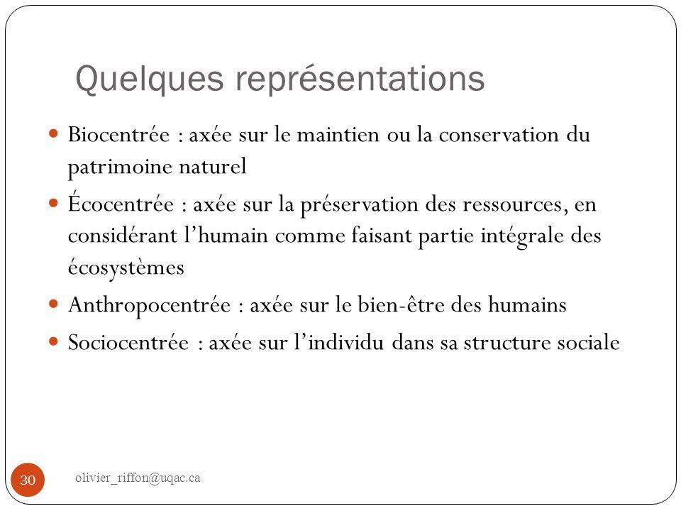 Quelques représentations Biocentrée : axée sur le maintien ou la conservation du patrimoine naturel Écocentrée : axée sur la préservation des ressourc