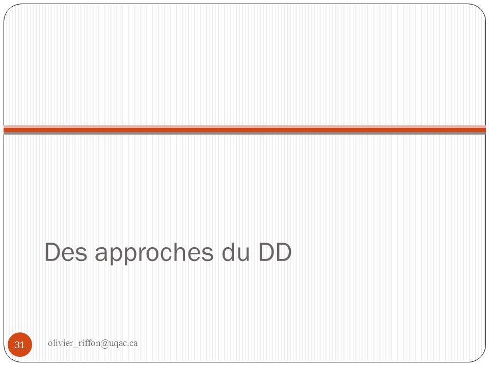 Approche du DD Cest une philosophie de laction, ancrée dans la représentation du DD.