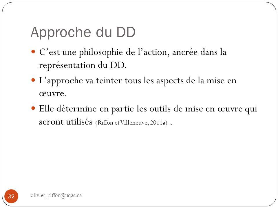 Approche du DD Cest une philosophie de laction, ancrée dans la représentation du DD. Lapproche va teinter tous les aspects de la mise en œuvre. Elle d