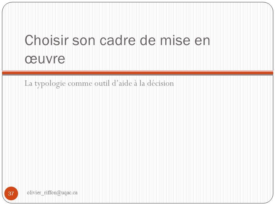 Choisir son cadre de mise en œuvre La typologie comme outil daide à la décision 37 olivier_riffon@uqac.ca