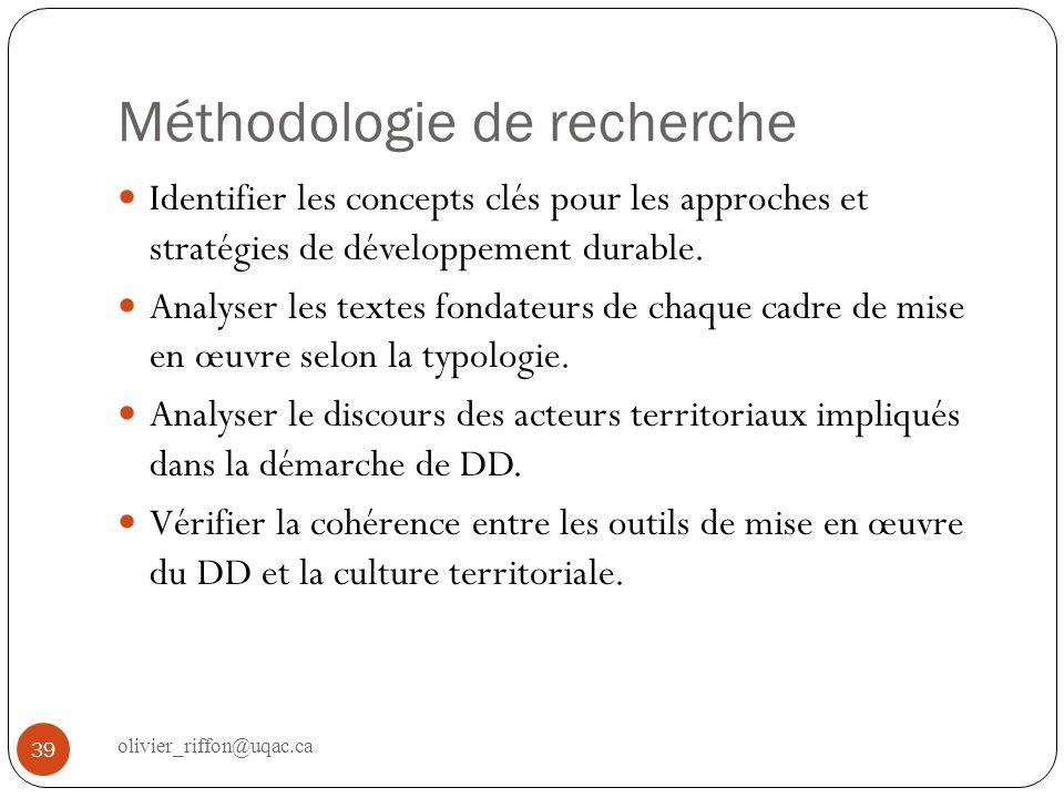 Méthodologie de recherche Identifier les concepts clés pour les approches et stratégies de développement durable. Analyser les textes fondateurs de ch