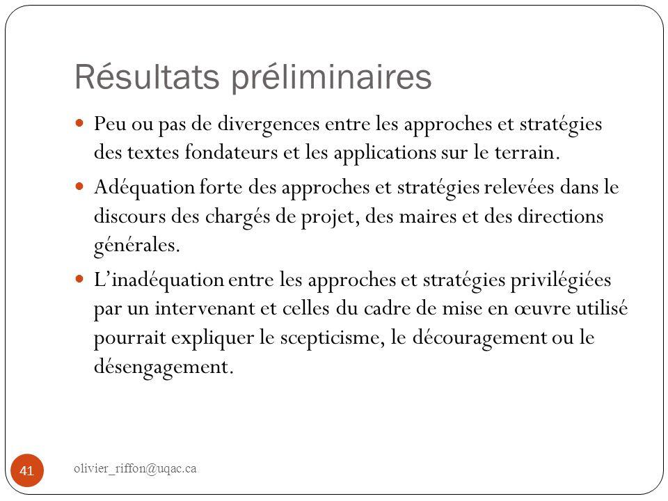 Résultats préliminaires Peu ou pas de divergences entre les approches et stratégies des textes fondateurs et les applications sur le terrain. Adéquati