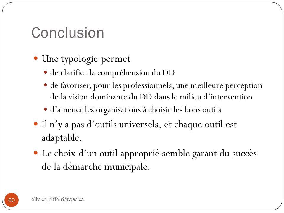 Conclusion Une typologie permet de clarifier la compréhension du DD de favoriser, pour les professionnels, une meilleure perception de la vision domin