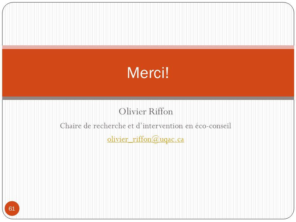 Olivier Riffon Chaire de recherche et dintervention en éco-conseil olivier_riffon@uqac.ca Merci! 61