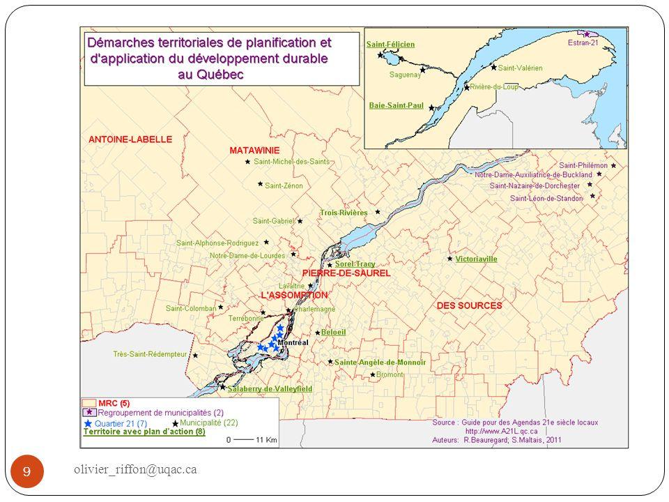 Différents cadres de mise en œuvre 10 olivier_riffon@uqac.ca