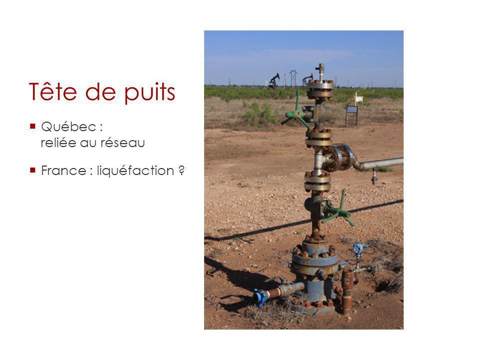Tête de puits Québec : reliée au réseau France : liquéfaction ?