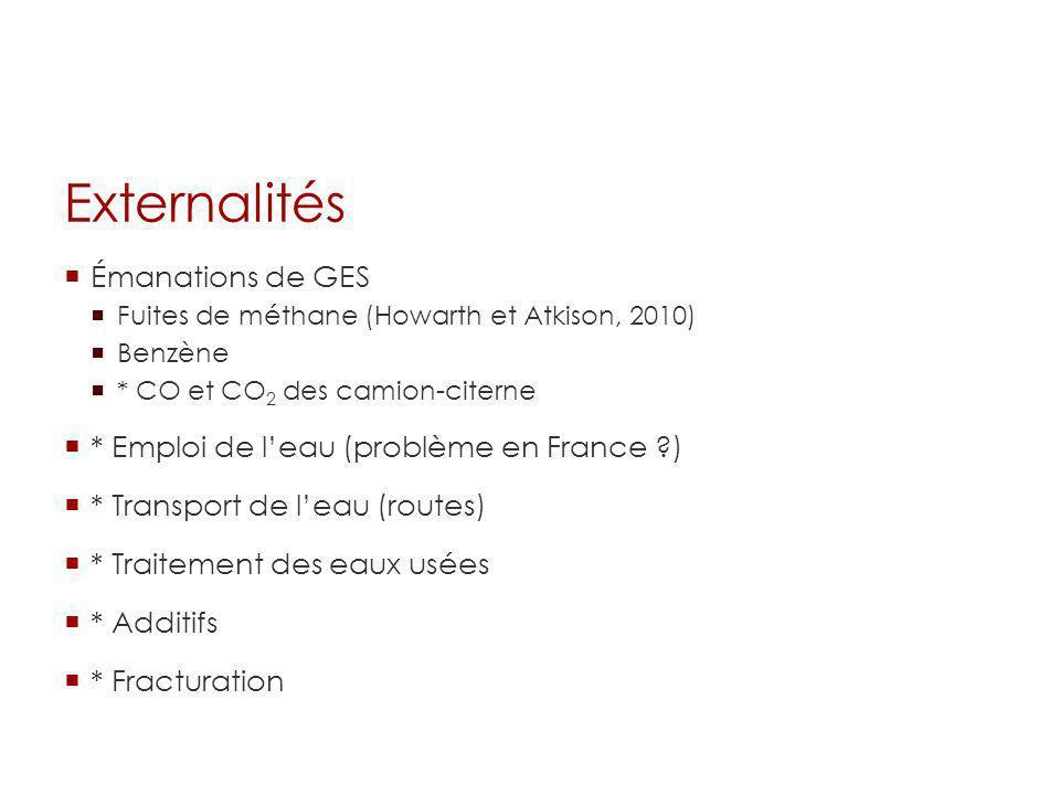 Externalités Émanations de GES Fuites de méthane (Howarth et Atkison, 2010) Benzène * CO et CO 2 des camion-citerne * Emploi de leau (problème en Fran