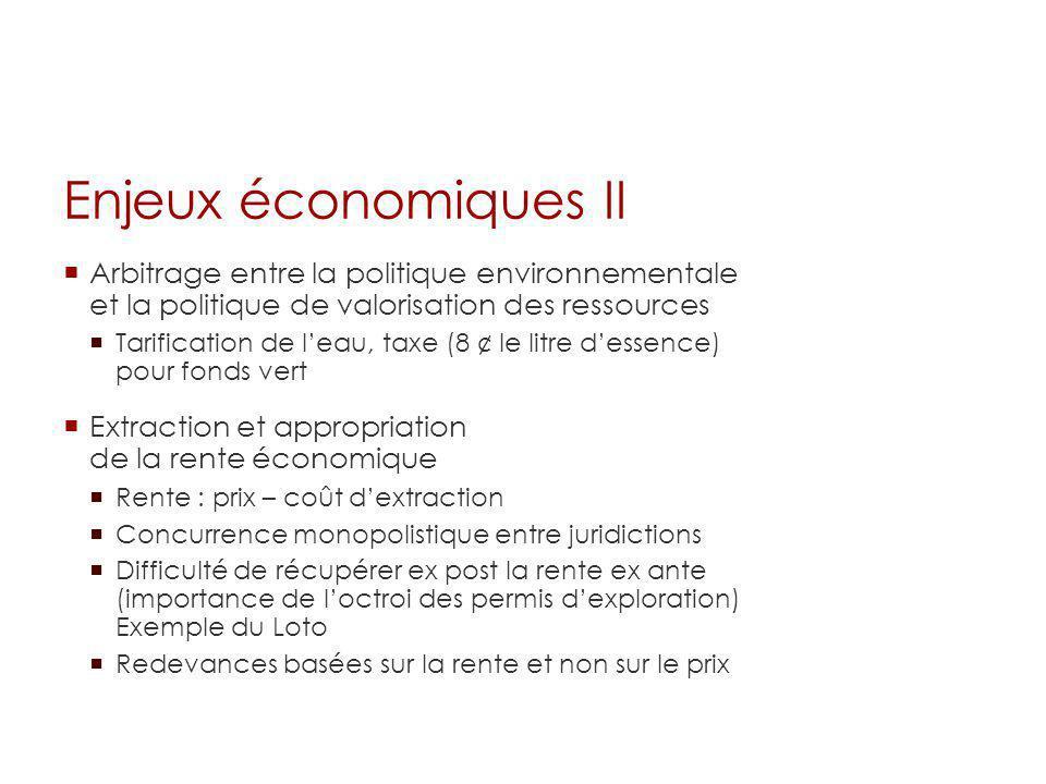 Enjeux économiques II Arbitrage entre la politique environnementale et la politique de valorisation des ressources Tarification de leau, taxe (8 ¢ le