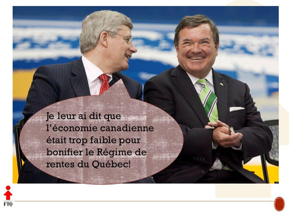 Je leur ai dit que léconomie canadienne était trop faible pour bonifier le Régime de rentes du Québec!