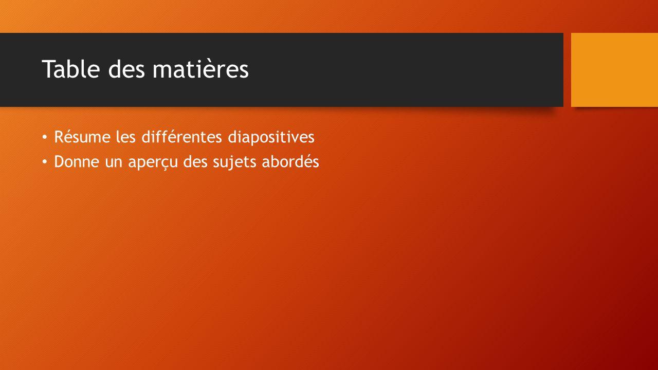 Table des matières Résume les différentes diapositives Donne un aperçu des sujets abordés