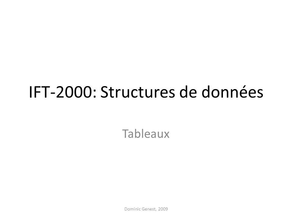 IFT-2000: Structures de données Tableaux Dominic Genest, 2009