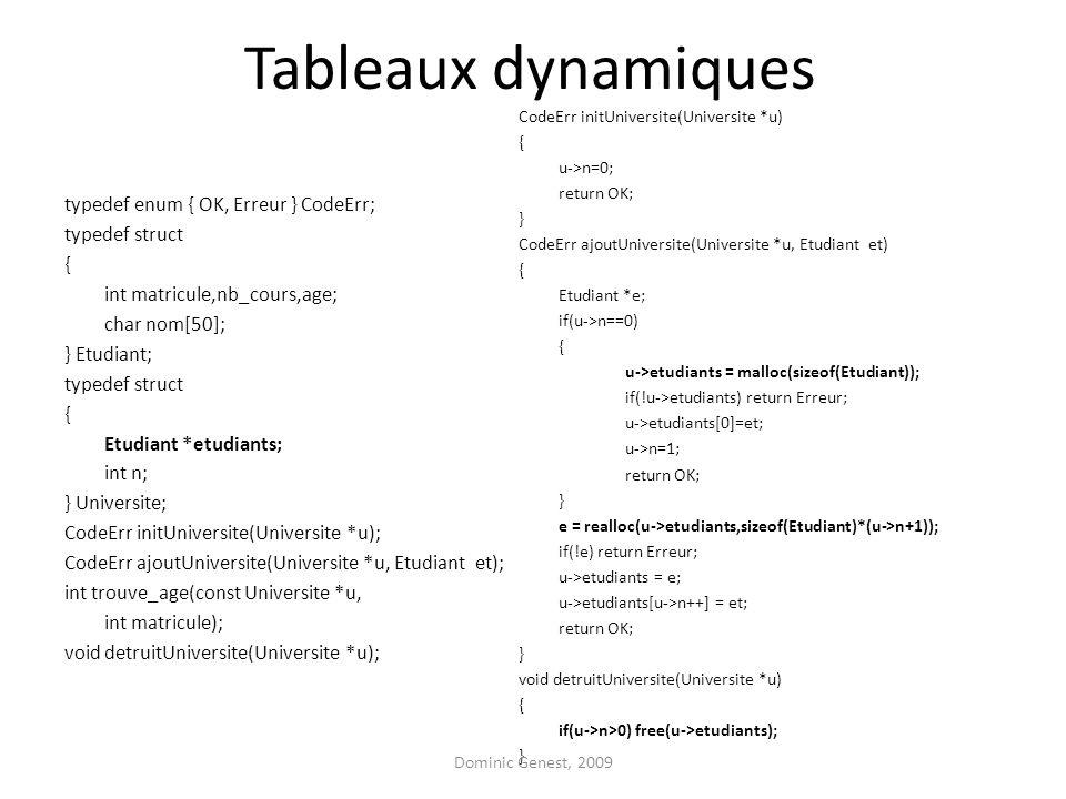 Tableaux dynamiques typedef enum { OK, Erreur } CodeErr; typedef struct { int matricule,nb_cours,age; char nom[50]; } Etudiant; typedef struct { Etudi