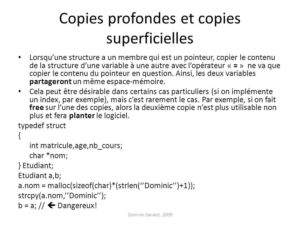 Copies profondes et copies superficielles Lorsquune structure a un membre qui est un pointeur, copier le contenu de la structure dune variable à une autre avec lopérateur « = » ne va que copier le contenu du pointeur en question.