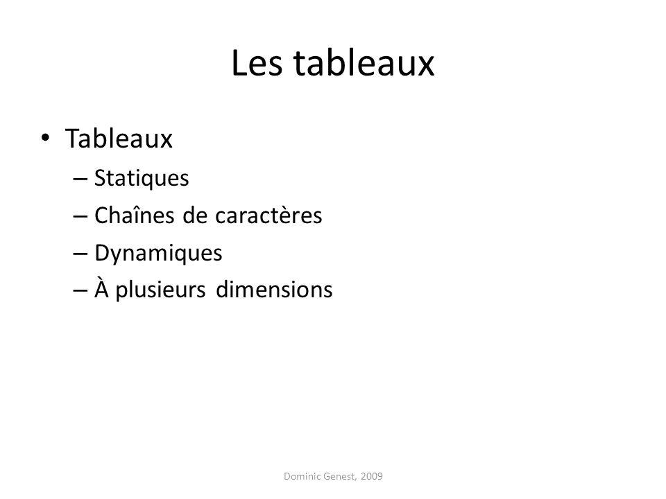 Les tableaux Tableaux – Statiques – Chaînes de caractères – Dynamiques – À plusieurs dimensions Dominic Genest, 2009