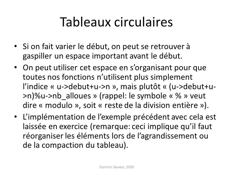 Tableaux circulaires Si on fait varier le début, on peut se retrouver à gaspiller un espace important avant le début. On peut utiliser cet espace en s
