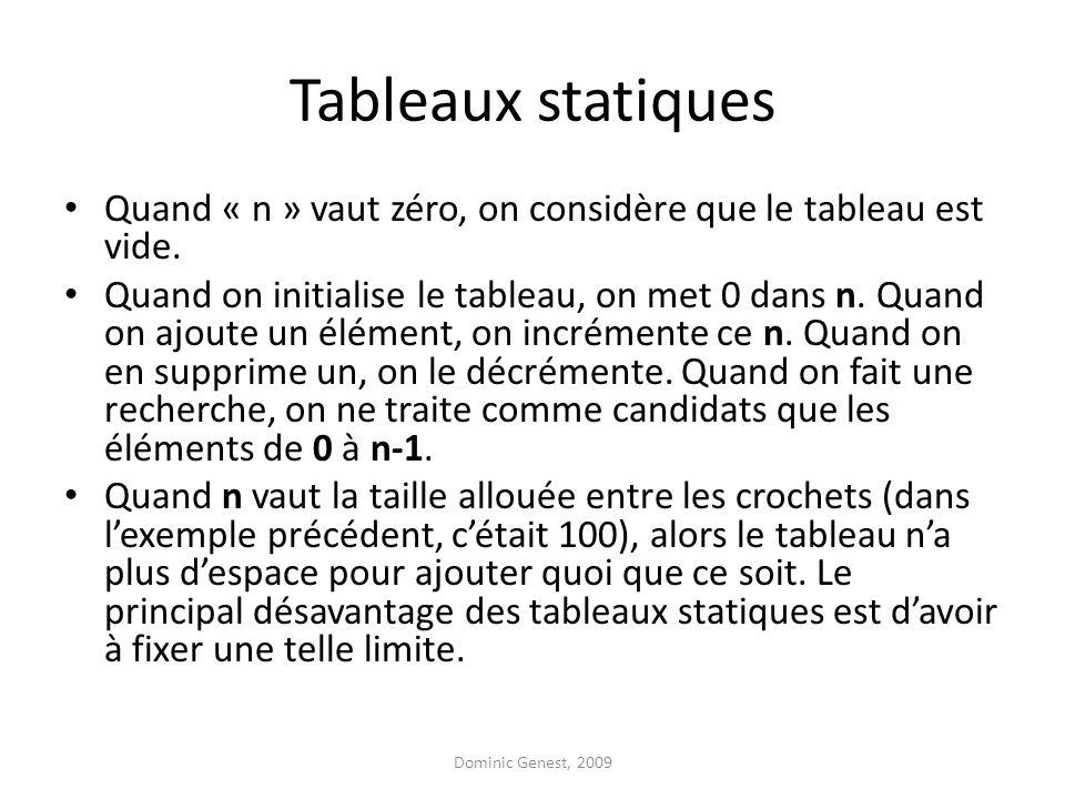 Tableaux statiques Quand « n » vaut zéro, on considère que le tableau est vide. Quand on initialise le tableau, on met 0 dans n. Quand on ajoute un él