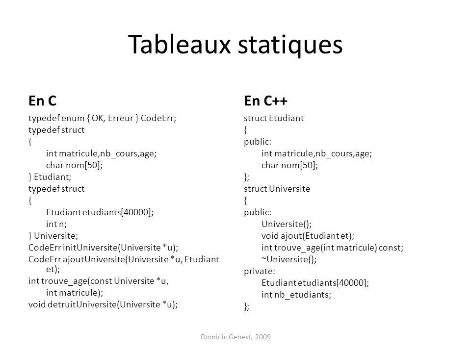 Tableaux statiques En C typedef enum { OK, Erreur } CodeErr; typedef struct { int matricule,nb_cours,age; char nom[50]; } Etudiant; typedef struct { E