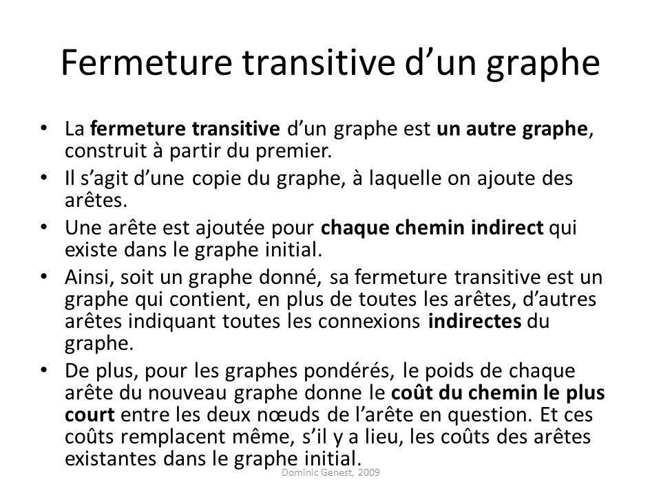 Fermeture transitive dun graphe La fermeture transitive dun graphe est un autre graphe, construit à partir du premier.