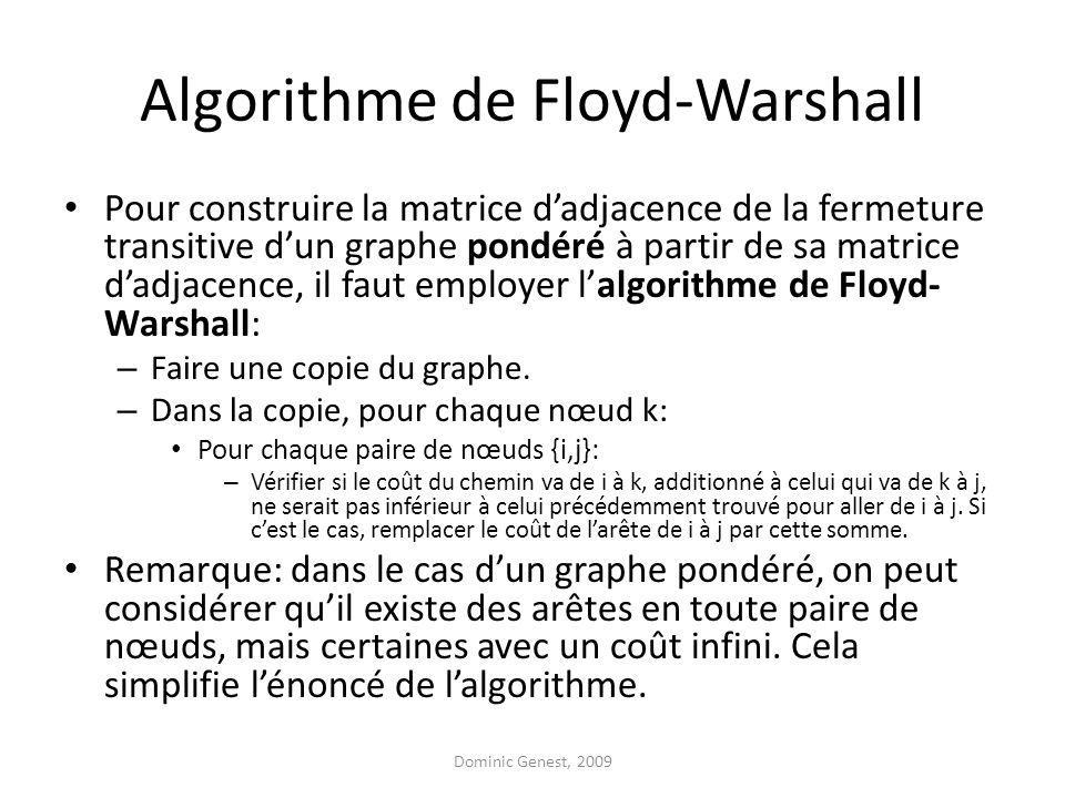 Algorithme de Floyd-Warshall Pour construire la matrice dadjacence de la fermeture transitive dun graphe pondéré à partir de sa matrice dadjacence, il faut employer lalgorithme de Floyd- Warshall: – Faire une copie du graphe.