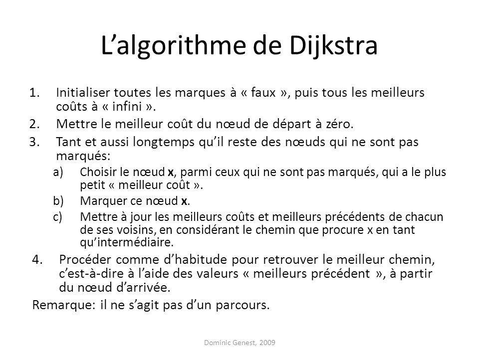 Lalgorithme de Dijkstra 1.Initialiser toutes les marques à « faux », puis tous les meilleurs coûts à « infini ».