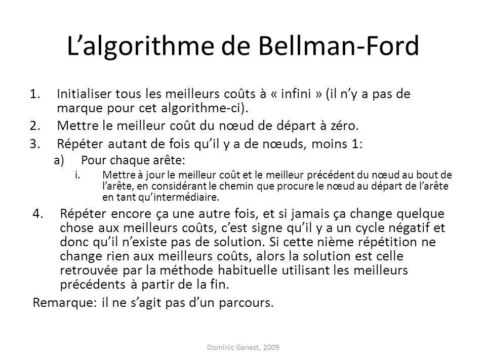 Lalgorithme de Bellman-Ford 1.Initialiser tous les meilleurs coûts à « infini » (il ny a pas de marque pour cet algorithme-ci).