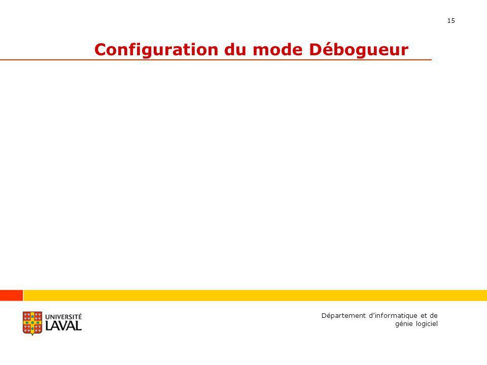 15 Configuration du mode Débogueur Département dinformatique et de génie logiciel