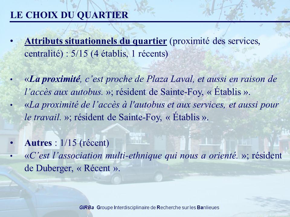 GIRBa Groupe Interdisciplinaire de Recherche sur les Banlieues LE CHOIX DU QUARTIER Attributs situationnels du quartier (proximité des services, centralité) : 5/15 (4 établis, 1 récents) «La proximité, cest proche de Plaza Laval, et aussi en raison de laccès aux autobus.