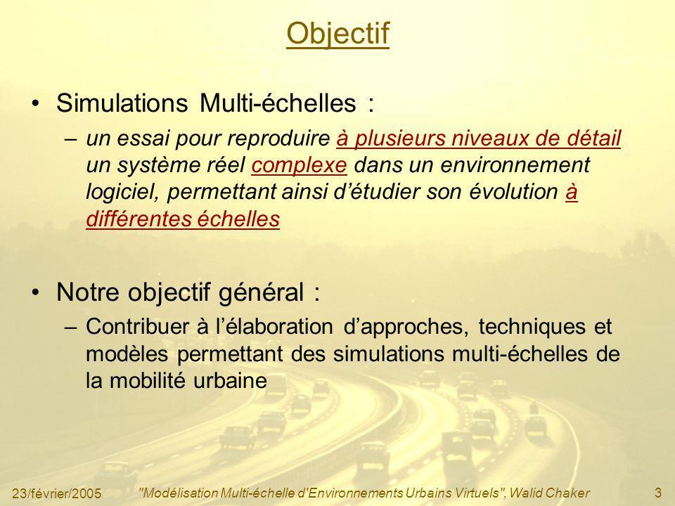 23/février/2005 Modélisation Multi-échelle d Environnements Urbains Virtuels , Walid Chaker4 Orientation Le développement dune approche de modélisation de lenvironnement urbain virtuel pour des fins de simulation de la mobilité urbaine.