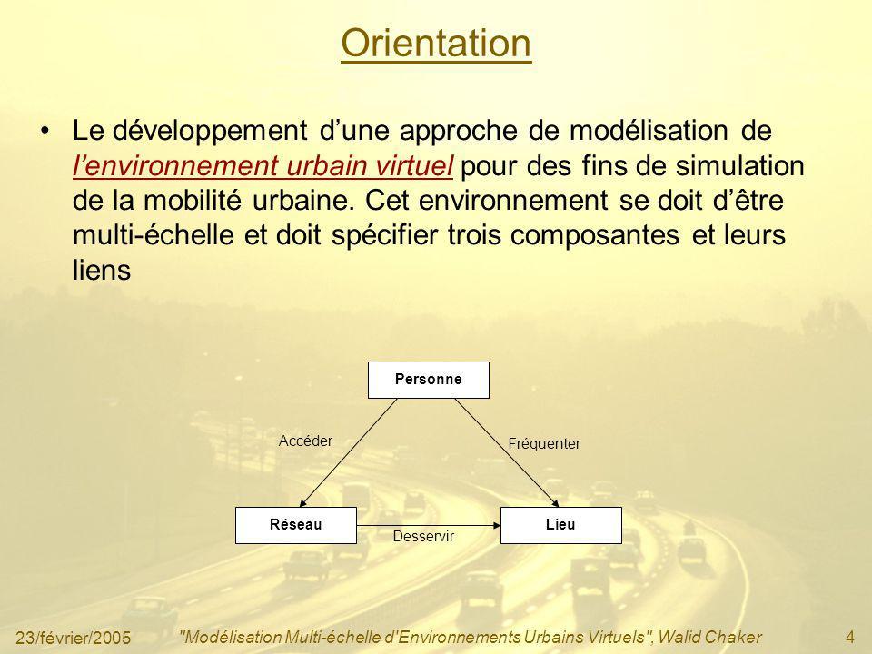 23/février/2005 Modélisation Multi-échelle d Environnements Urbains Virtuels , Walid Chaker5 Patron de conception LieuNœud Lien Type Géométrie Vertex 1 1..